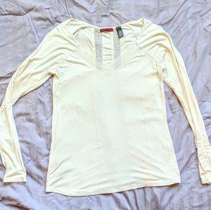 White/cream long sleeve soft tee with mesh cutouts